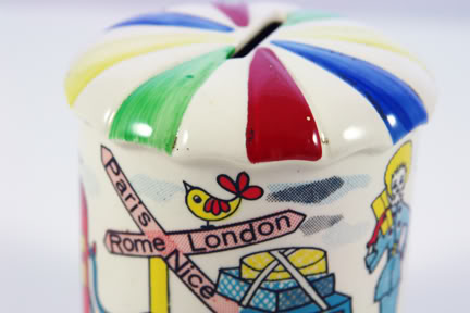 Detail of vintage 1950s pottery money box | H is for Home