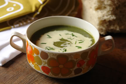 Vintage Young Pontesa bowl with home-made nettle soup   H is for Home