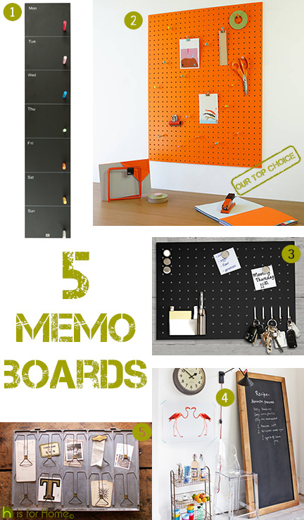 selection of 5 memo boards
