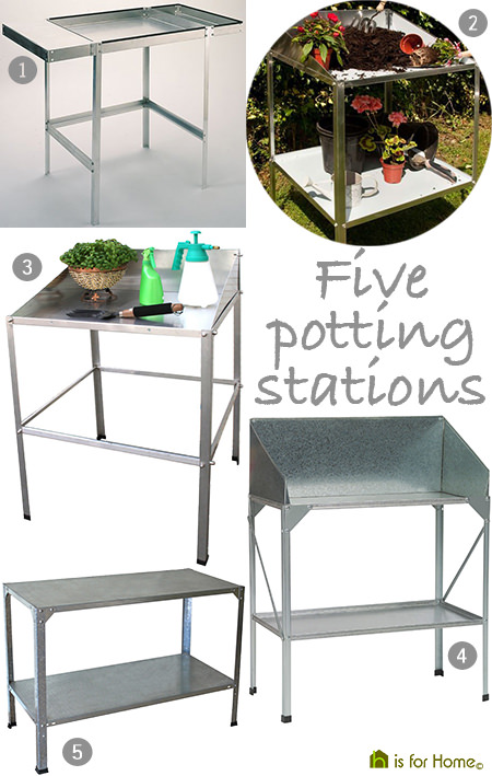selection of metal potting stations