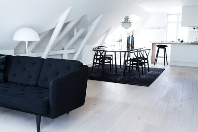 Monochrome open-plan living space