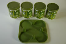 Green & white Staffordshire Pottery lidded mug set with carry tray | H is for Home