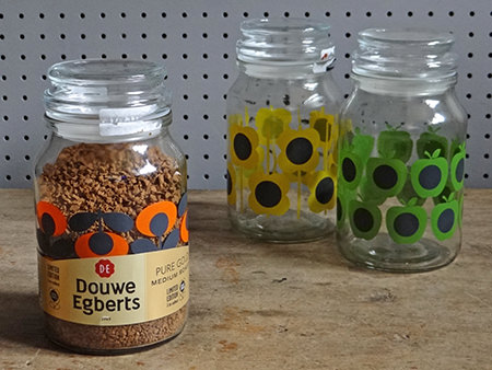 Limited edition Orla Kiely print coffee jars for Douwe Egberts