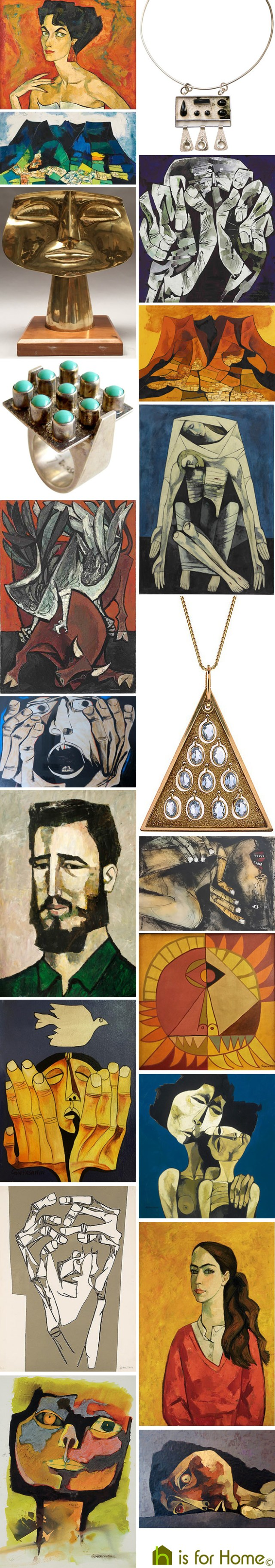 Mosaic of works by Oswaldo Guayasamín | H is for Home