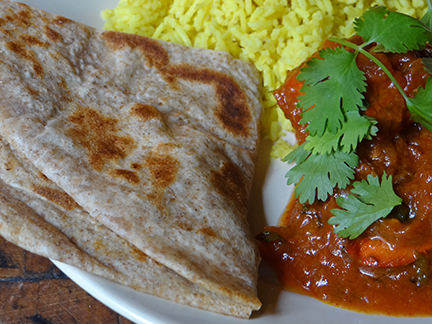 Paratha with curry & rice | H is for Home #recipe #paratha #flatbread