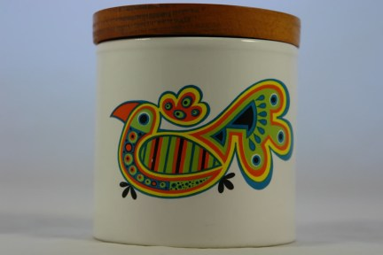 vintage storage jar with colourful parrot decoration | H is for Home