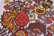 detail of teatowel with bird decoration | H is for Home