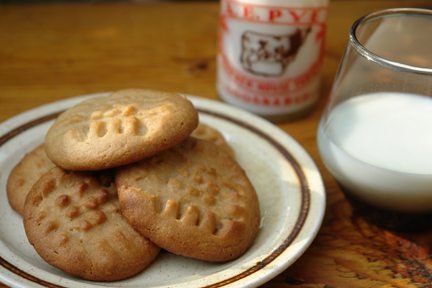 Home-made peanut butter cookies with small vintage milk bottle and glass of milk | H is for Home
