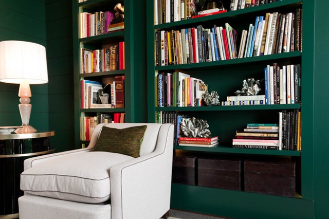 Racing green bookshelves