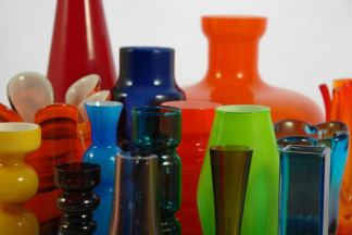 Collection of vintage art glass vases