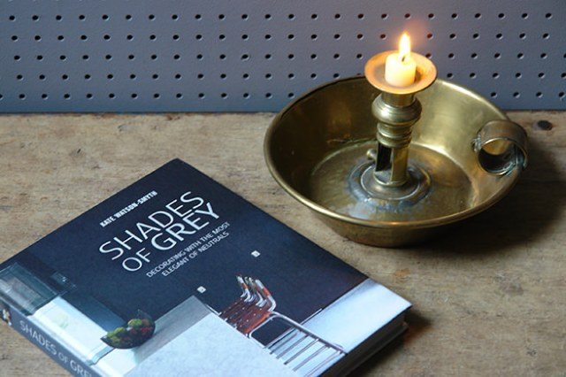 Shades of Grey book with brass candle holder | H is for Home