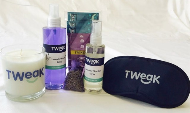 Mini Tweak Sleep Kit from Tweak Slumber containing a luxury lavender candle, room spray, sleep spray, sleep tea and an eye mask