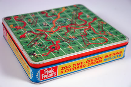 Vintage Peek Freans biscuit tin with snakes & ladders game on lid | H is for Home