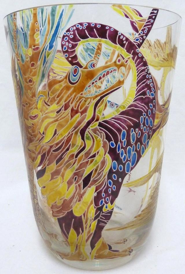 Stanislav Libensky - a 1001 Nights enamelled glass vase
