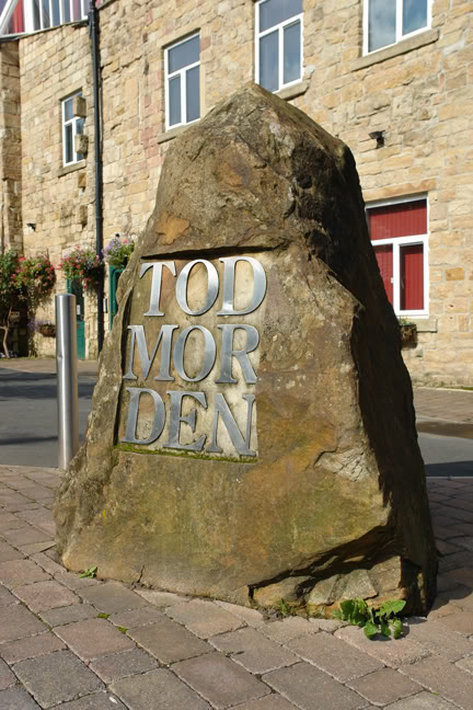 Todmorden stone on entering the town