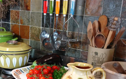 set of vintage multi-coloured kitchen utensils | H is for Home