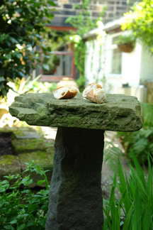 stone bird table | H is for Home