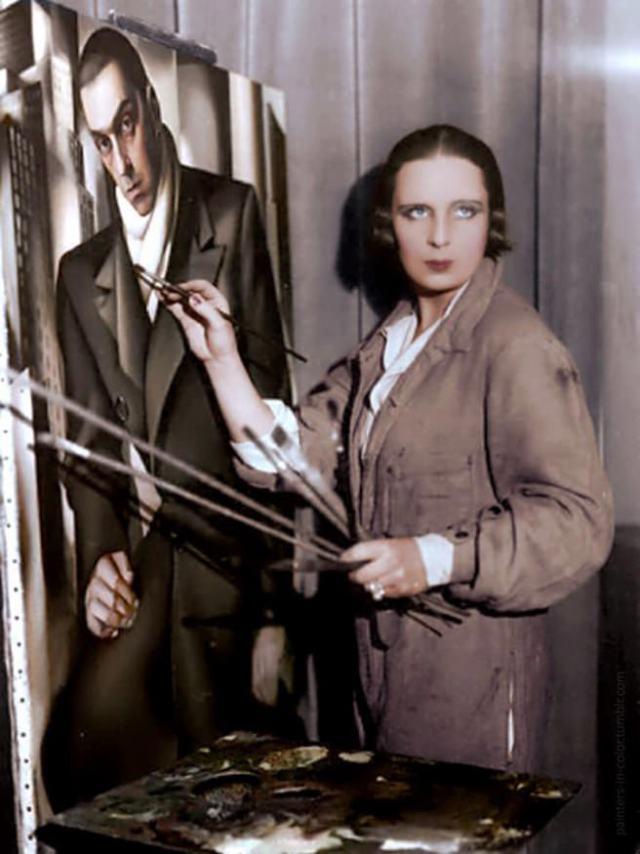 Tamara de Lempicka painting a portrait of her first husband Tadeusz Lempicki, c.1928