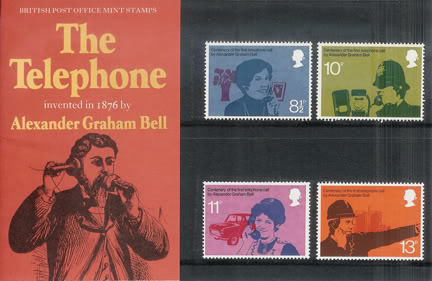 large sized image of vintage Royal Mail 'telephone' stamp presentation packs