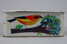 vintage biscuit tin with colourful bird decoration | H is for Home