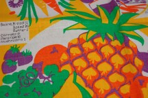 tea towel detail showing fruit and vegetables