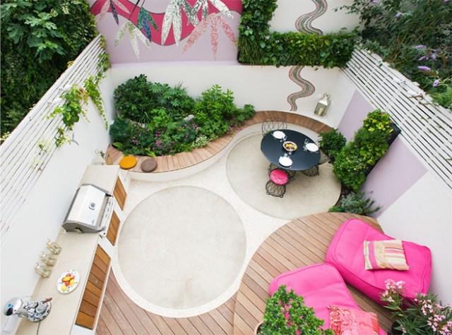 Pink vibrant patio garden