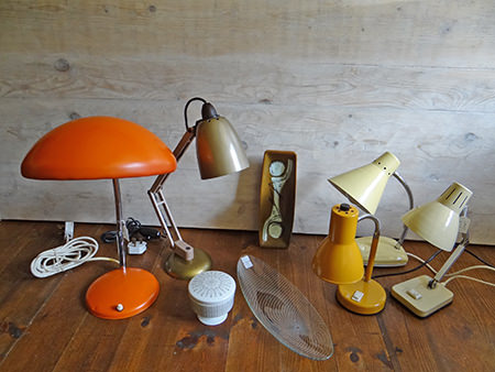 collection of vintage lamps pottery and glass
