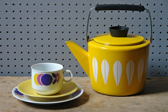 Yellow vintage Cathrineholm kettle with cup & saucer | H is for Home