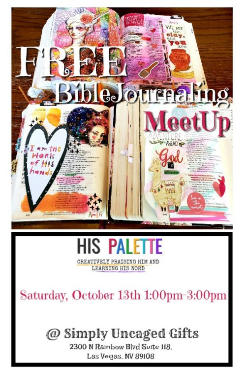 JOIN US! His Palette will be hosting a free meetup for Christian creatives in the Las Vegas area. #hispalette #biblejournaling #biblejournalingcommunity #illustratedfaith #biblejournalingmeetup #lasvegasbiblejournalingmeetup #lasvegas
