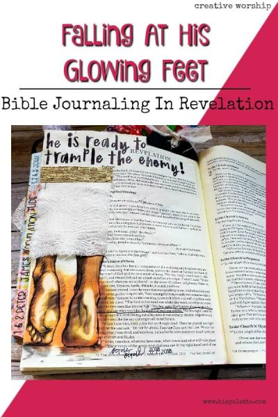 Want ideas for journaling your Bible studies? Find study prompts and Bible journaling ideas for Revelation 1:15 here. #hispalette #biblejournaling #illustratedfaith #biblestudy #jesusappearance #god #heaven #light #jesusfeet #craft #scriptures #lights #revelation #revelation1