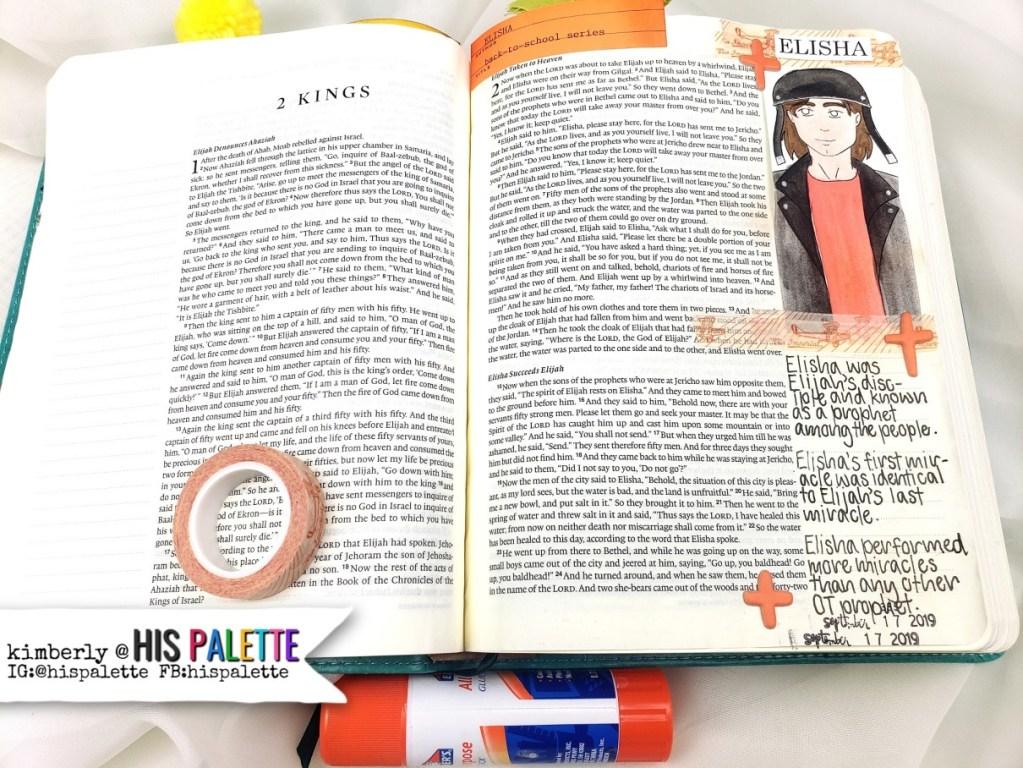 bible with drawing of elisha