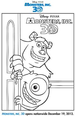 Monsters, Inc. 3D figura para colorear