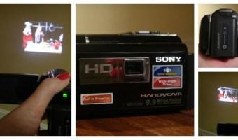 Cámara de video Sony con proyector