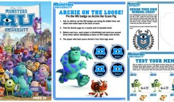 Nuevas actividades gratis para niños de Monsters University