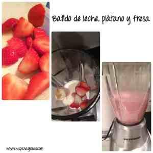 Combina fresas frescas, leche y un plátano para un batido para tu desayuno