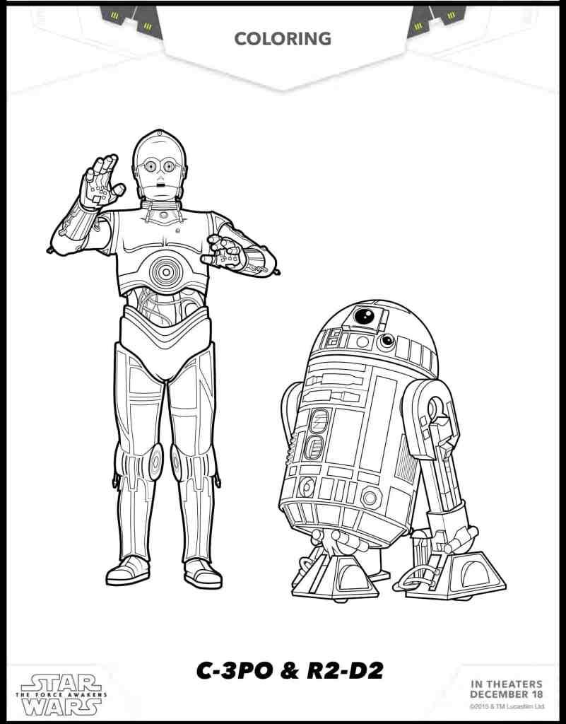 C-3PO y R2-D2 dibujos para colorear gratis de Star Wars