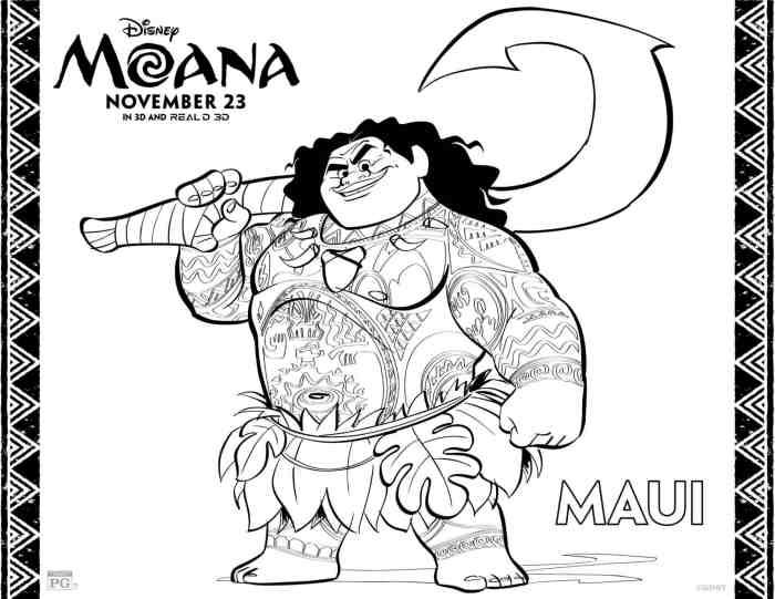 Dibujos para colorear gratis Maui de Moana