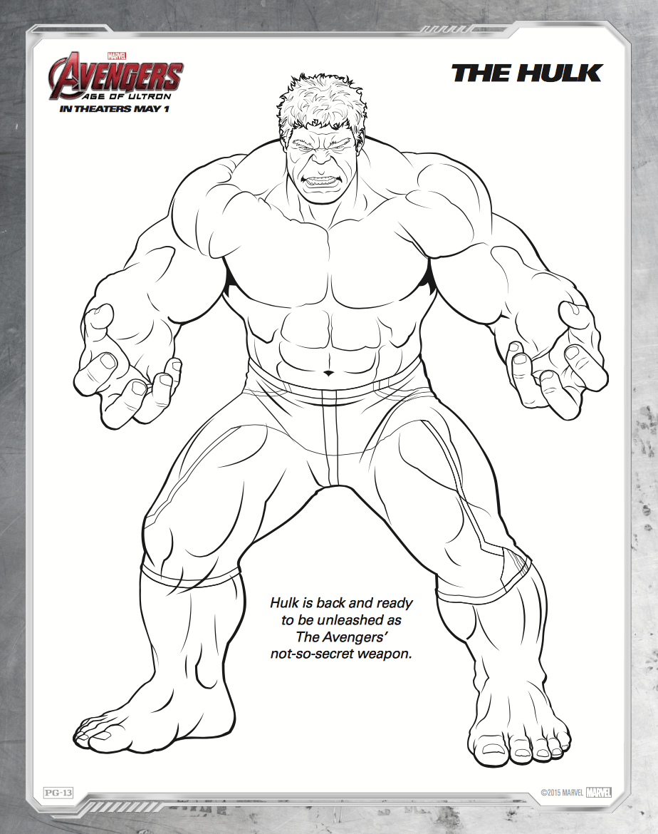 Free printable Avengers: Age of Ultron coloring sheets