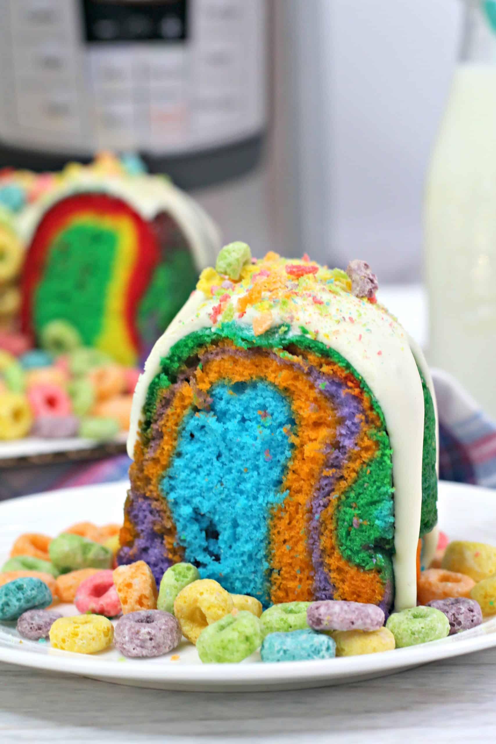 Stunning Instant Pot Fruit Loops Rainbow Bundt Cake
