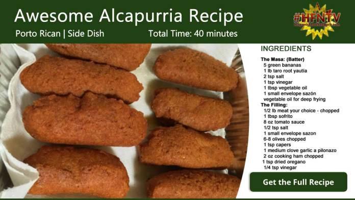 Awesome Puerto Rican Alcapurria Recipe Card
