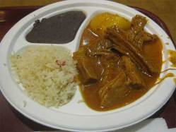 Guatemalan Hilachas served with rice and black beans