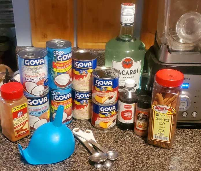 Ingredients for Puerto Rican Coquito