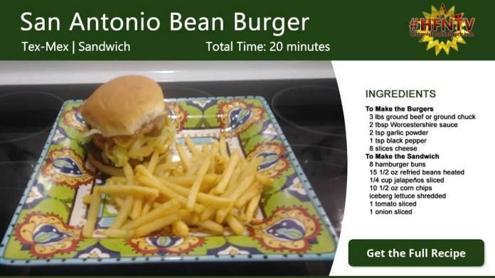 San Antonio Bean Burger Recipe Card