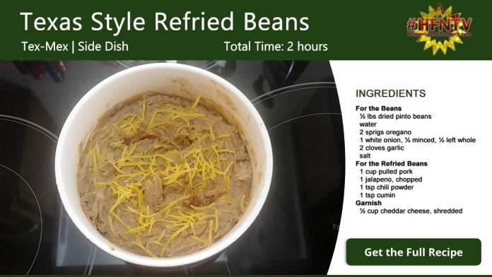 Frijoles Refritos Estilo Texas ~ Texas Style Refried Beans Recipe Card