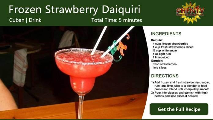 Frozen Strawberry Daiquiri Cocktail Recipe Card