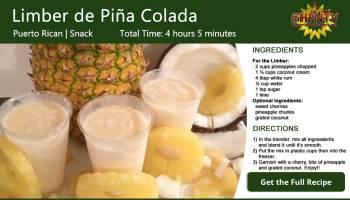 Limber de Piña Colada ~ Piña Colada Ice Recipe Card