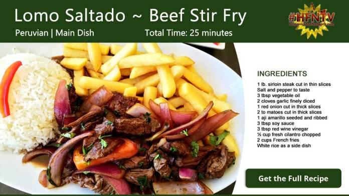 Lomo Saltado ~ Beef Stir Fry Recipe Card