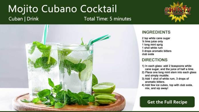 Mojito Cubano Cocktail Recipe Card