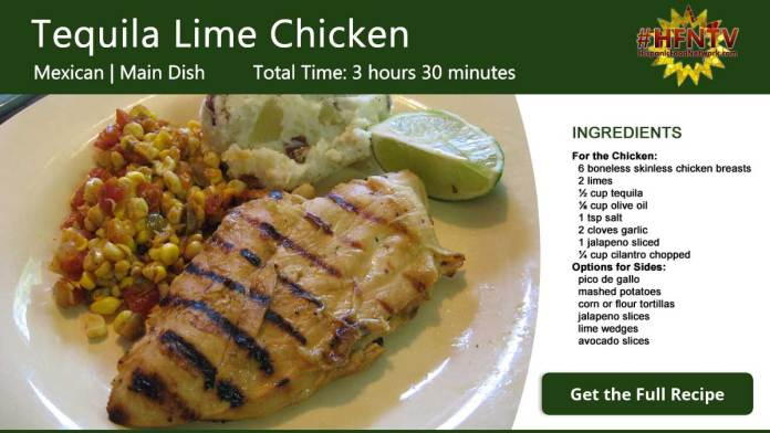 Tequila Lime Chicken Recipe Card