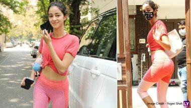 गुलाबी टी-शर्ट और ट्रैक पेंट्स पहनकर Ananya Panday ने अपने जिम लुक से मचाई सनसनी, देखें Hot Photos